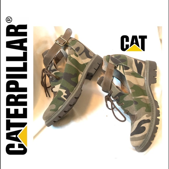 free shipping 556e2 4b837 CATERPILLAR WMNS Camouflage Wedge Ankle Boots Sz 8
